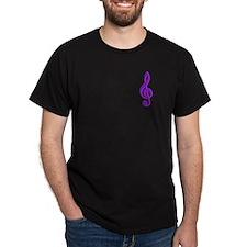 Purple Hot Pink Treble Black T-Shirt