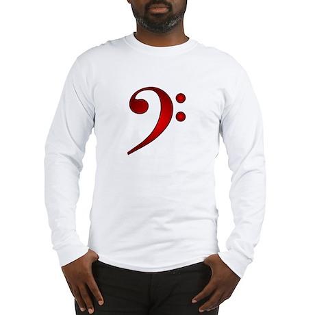 """""""Metallic"""" Red Bass Clef Long Sleeve T-Shirt"""