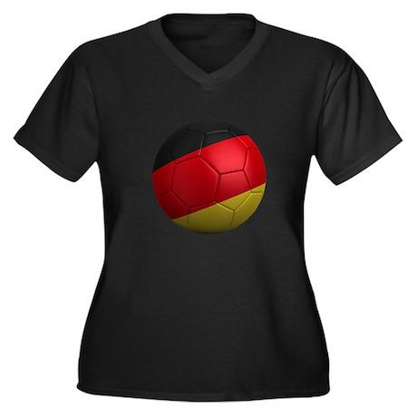 German Soccer Ball Women's Plus Size V-Neck Dark T