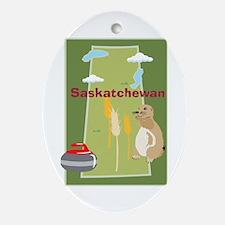 Saskatchewan Map Oval Ornament