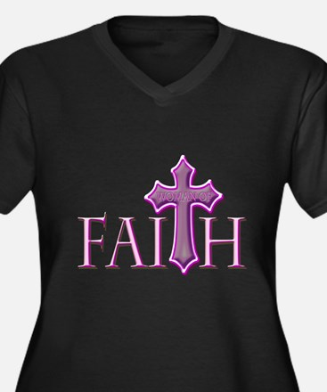 Woman of Faith Women's Plus Size V-Neck Dark T-Shi