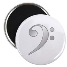 """""""Silver"""" Bass Clef 2.25"""" Magnet (10 pack)"""