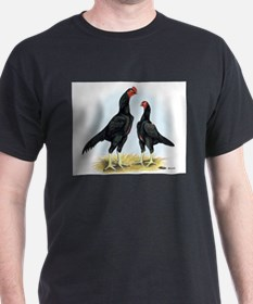 Shamo Rooster and Hen Black T-Shirt