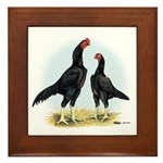 Shamo Rooster and Hen Framed Tile
