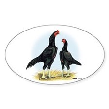 Shamo Rooster and Hen Oval Decal