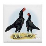 Shamo Rooster and Hen Tile Coaster