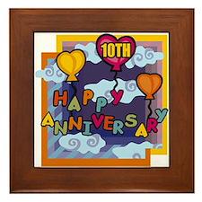 10th Wedding Anniversary Framed Tile