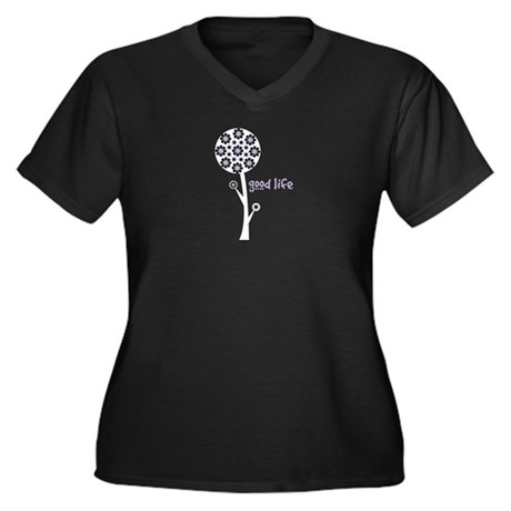Good Life Women's Plus Size V-Neck Dark T-Shirt