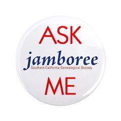 """Genealogy Jamboree 3.5"""" Button"""