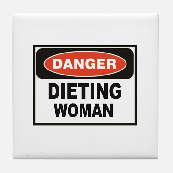 dieting woman fun Tile Coaster