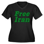 Free Iran Women's Plus Size V-Neck Dark T-Shirt