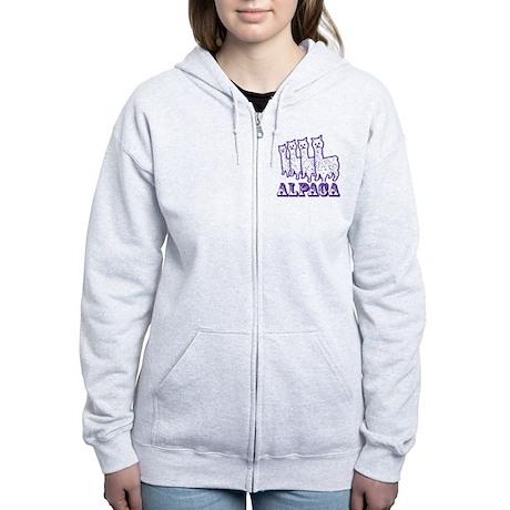 Alpaca 4 Purple Line Women's Zip Hoodie