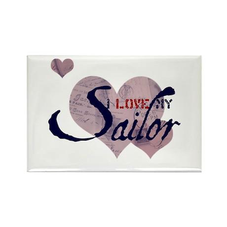 Love My Sailor Rectangle Magnet