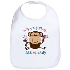 My 1st 4th Boy Monkey Bib
