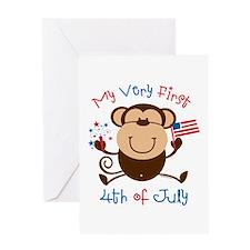 My 1st 4th Boy Monkey Greeting Card