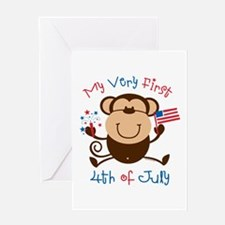 My 1st 4th Boy Monkey Greeting Card