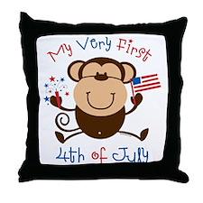 My 1st 4th Boy Monkey Throw Pillow