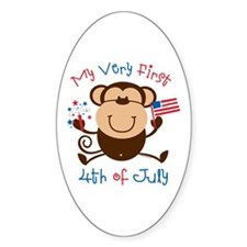 My 1st 4th Boy Monkey Oval Decal