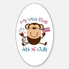 My 1st 4th Boy Monkey Oval Decal