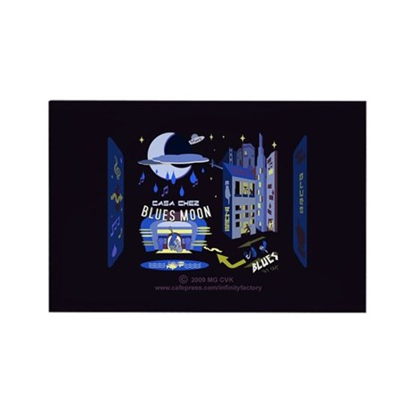 blues moon Rectangle Magnet (100 pack)
