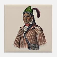 Creek Warrior Menawa Portrait Art Tile Coaster