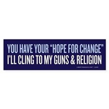 Clinging to Guns & Religion Bumper Bumper Sticker