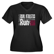 Real Athletes Run - Female Women's Plus Size V-Nec