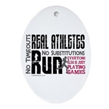 Real Athletes Run - Female Oval Ornament
