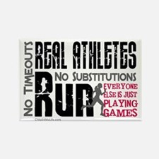 Real Athletes Run - Female Rectangle Magnet