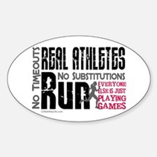 Real Athletes Run - Female Oval Decal