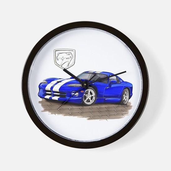 Viper Blue/White Car Wall Clock