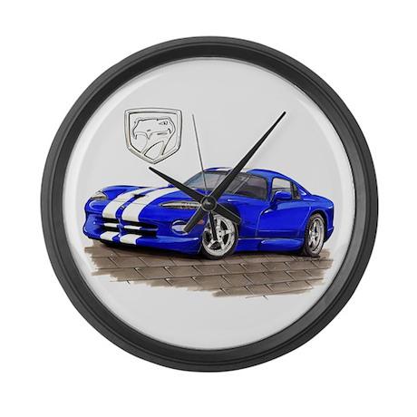 Viper Blue/White Car Large Wall Clock