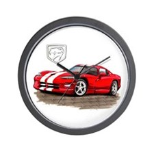 Viper Red/White Car Wall Clock