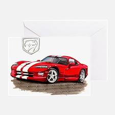 Viper Red/White Car Greeting Card