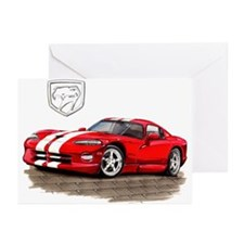 Viper Red/White Car Greeting Cards (Pk of 10)