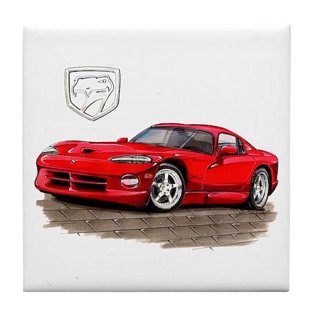 Viper Red Car Tile Coaster