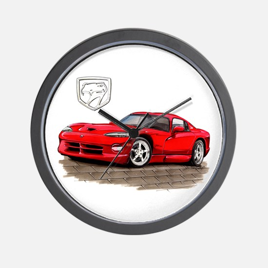 Viper Red Car Wall Clock