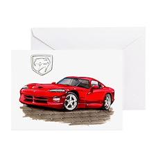 Viper Red Car Greeting Cards (Pk of 10)