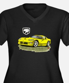 Viper Yellow Car Women's Plus Size V-Neck Dark T-S