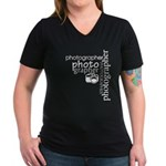 Photographer Women's V-Neck Dark T-Shirt