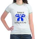 Cat Menorah 2 Jr. Ringer T-Shirt