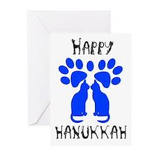 Cat Menorah 2 Greeting Cards (Pk of 10)