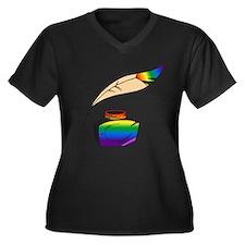Rainbow Writer Women's Plus Size V-Neck Dark T-Shi