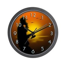 Fishing by Sunset (Wall Clock)