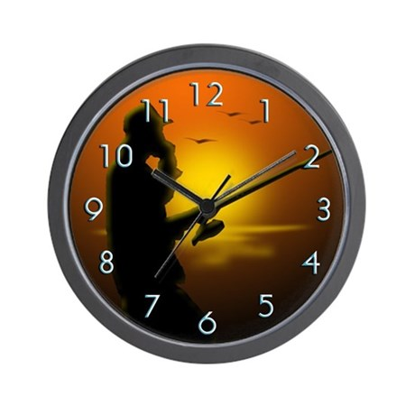 Fishing by sunset wall clock by themagiktees for Fish wall clock