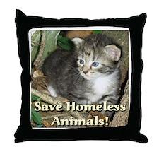 Save Homeless Animals Throw Pillow
