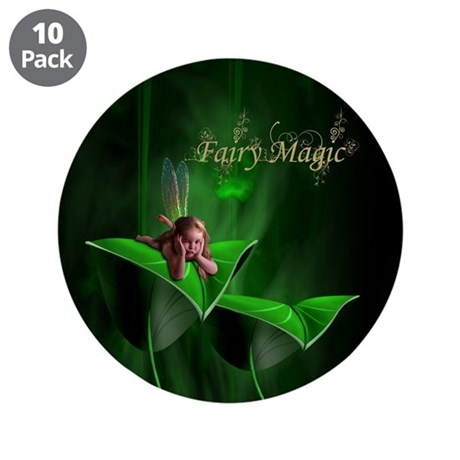 "Fairy Magic Leaf Fairy 3.5"" Button (10 pack)"