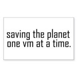 Saving the planet Rectangle Sticker