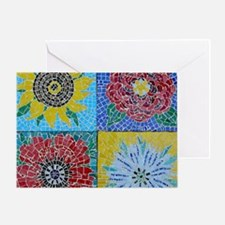 Poppy and Sunflower Mosaic Greeting Card