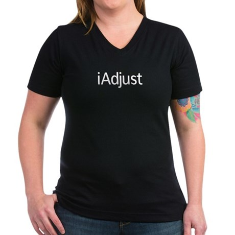 iAdjust - Chiropractor Women's V-Neck Dark T-Shirt